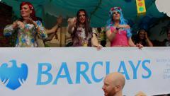 Birmingham Gay Pride - Barclays truck Stock Footage