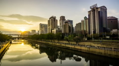 The sunset of Tonghui River near the Guomao CBD of Beijing, China. Stock Footage