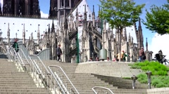 ULTRA HD 4K real time shot,panoramic urban Scenes of Cologne, Koln Stock Footage