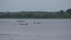 Ghana Volta river fisherman boats 4K Stock Footage