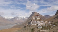 TIMELAPSE Ki Gompa in Spiti Valley with clouds,Key,Spiti,India Stock Footage