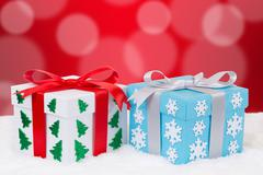 Christmas distribution of gifts decoration with copyspace - stock photo