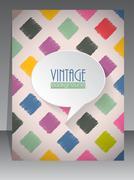 Cool vintage retro scrapbook cover design - stock illustration