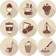 Flat round vector icons for tasty food Stock Illustration