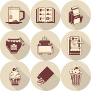 Stock Illustration of Brown vector icons for morning menu