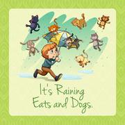 It's raining cats and dogs idiom - stock illustration