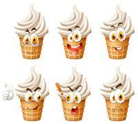 Soft ice cream on cone Stock Illustration