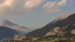 Hillside ancient forts above Briancon city summer landscape time lapse 4K  Stock Footage