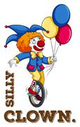 Silly clown with balloon - stock illustration