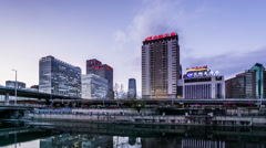 The twilight of buildings near the Guomao CBD of Beijing, China. Stock Footage