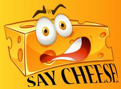 Say cheese expression on yellow Stock Illustration