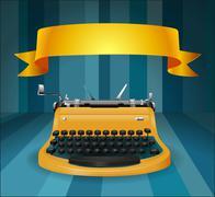 Retro typewriter with banner - stock illustration