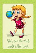 She's got the whole world in her hands Stock Illustration