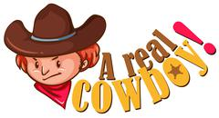 Real cowboy with text Stock Illustration