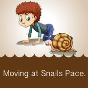 Man crawling beside snail - stock illustration