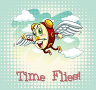 English idiom time flies Stock Illustration