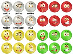 Facial expression on round badges - stock illustration