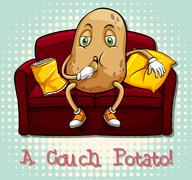 Couch potato idiom concept - stock illustration