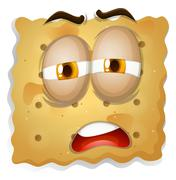 Yellow square biscuit face - stock illustration