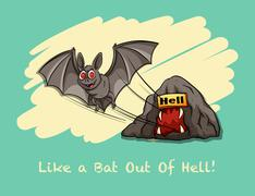 Like a bat out of hell expression - stock illustration