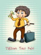 Tighten your belt idiom expression Stock Illustration