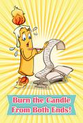 Burn the candle from both ends Stock Illustration