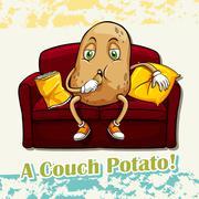 English idiom couch potato - stock illustration