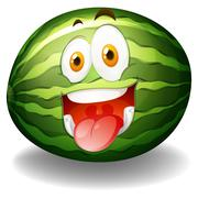 Happy facial expression on watermelon - stock illustration