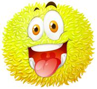 Fluffy ball with happy face Stock Illustration