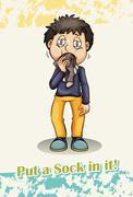 Put a sock in it idiom - stock illustration
