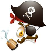 Facial expression with pirate hat - stock illustration