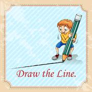 Idiom draw the line Stock Illustration