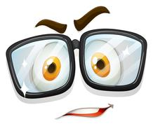 Facial expression with glasses Stock Illustration