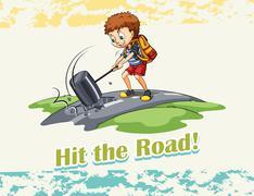 Idiom hit the road Stock Illustration
