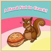Hard nut to crack - stock illustration