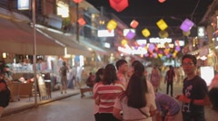 Chinese tourists on pub street siem riep Stock Footage