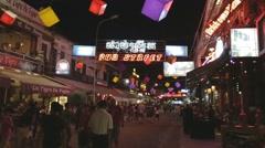 Nightlife on Siem Riep pub street Stock Footage