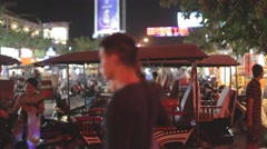 Parked tuk tuks on pub street siem riep at night Stock Footage