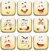 Facial expressions on yellow tiles - stock illustration