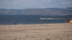 Krasnoyarsk reservoir Yenisei 31 Beach and PWC Stock Footage