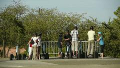 Group of tourists on Segway personal transporter Stock Footage