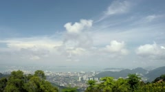 Stock Video Footage of Birds-Eye View of Georgetown, Capital of Penang Island, Malaysia. Time Lapse