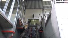 Hallstatt Salzwelten Cable Car mountain downhill Stock Footage
