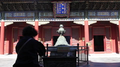 Buddhist worship, Sumeru statue, China Stock Footage