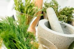 Herbs and Mortar for spices clode up - stock photo