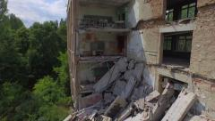 Collapsed school No1 of Pripyat town near Chernobyl  (Aerial, 4K) Stock Footage