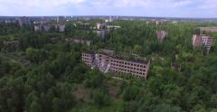 Stock Video Footage of Collapsed school No1 of Pripyat town near Chernobyl  (Aerial, 4K)