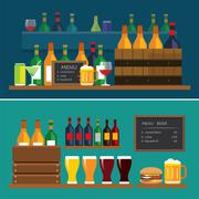 beverage and beer flat design banner - stock illustration