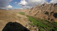 TIMELAPSE View down the valley from Mulbekh gompa,Mulbekh,Ladakh,India Stock Footage