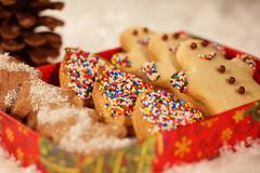 Christmas cookies with snow Stock Photos